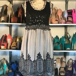 Ultra Pink lace sequins dress size M